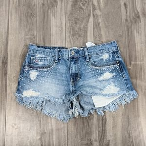 Hollister Short Shorts Denim Sz 5 Distressed